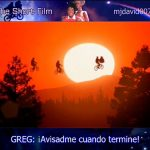 E.T. the Extra-Terrestrial flying with bikes