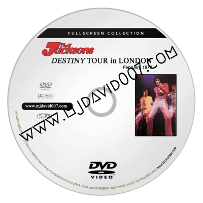 Dvd label for The Jacksons Destiny Tour in London 1979